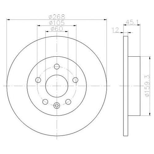 Hella 8DD 355 116-581 Тормозной диск