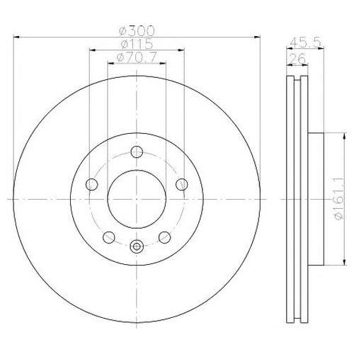 Hella 8DD 355 116-591 Тормозной диск