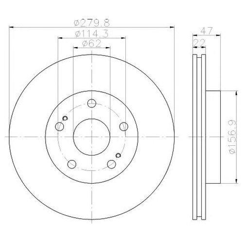 Hella 8DD 355 116-771 Тормозной диск