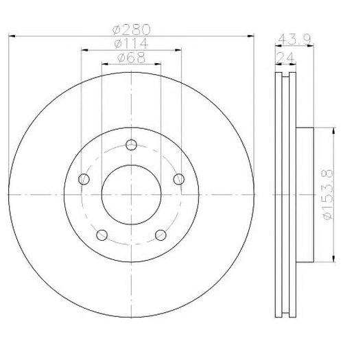 Hella 8DD 355 117-321 Тормозной диск