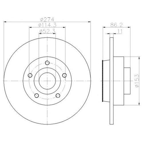 Hella 8DD 355 117-351 Тормозной диск