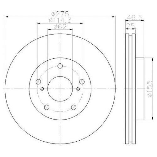 Hella 8DD 355 117-361 Тормозной диск