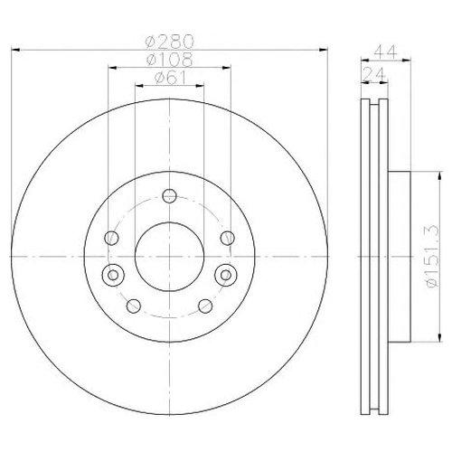 Hella 8DD 355 117-781 Тормозной диск