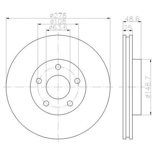 Hella 8DD 355 117-961 Тормозной диск